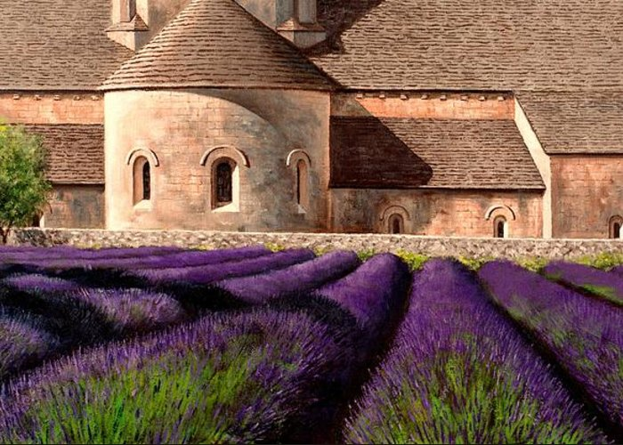 Senanque Abbey Greeting Card featuring the painting Abbey Lavender by Michael Swanson