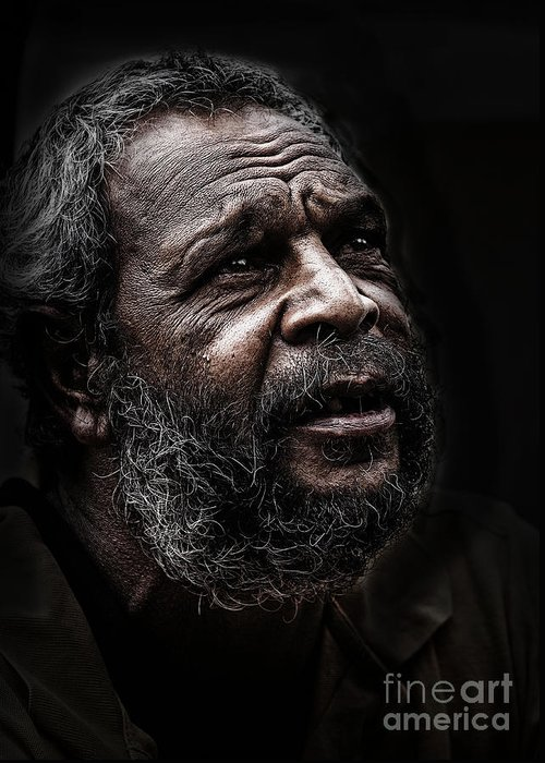 Australian Aboriginal Man Greeting Card featuring the photograph Aboriginal man by Sheila Smart Fine Art Photography