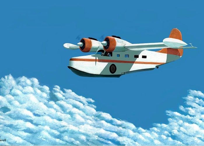 G-21 Greeting Card featuring the painting Above It All The Grumman Goose by Gary Giacomelli
