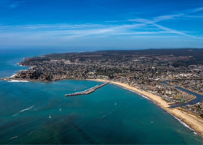Aerial Greeting Card featuring the photograph Above Santa Cruz California Looking West by Randy Straka