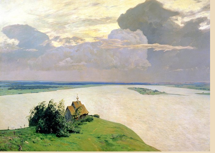 Levitan Greeting Card featuring the painting Above The Eternal Peace by Isaak Ilyich Levitan