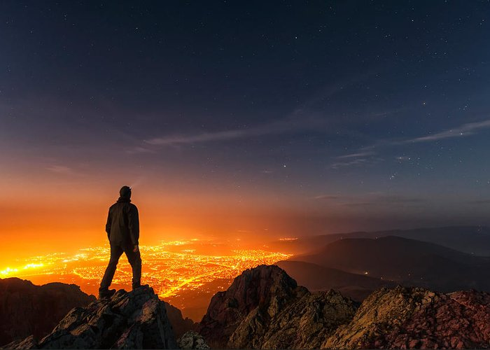Balkan Mountains Greeting Card featuring the photograph Above The Night by Evgeni Dinev