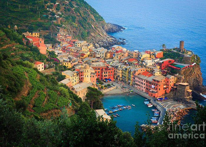 Cinque Terre Greeting Card featuring the photograph Above Vernazza by Inge Johnsson