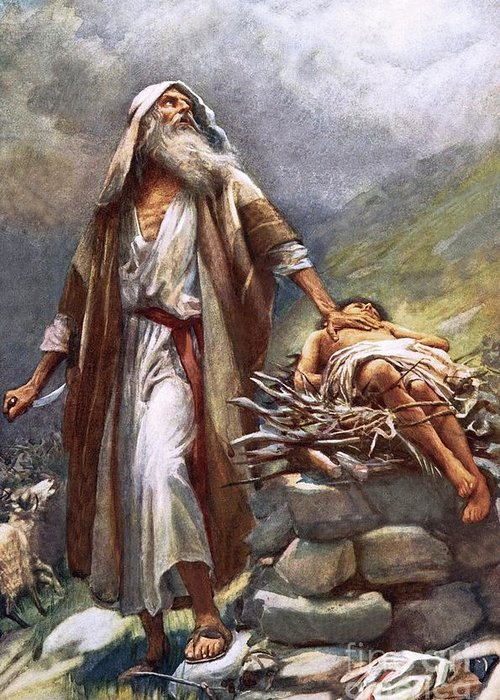 Man Greeting Card featuring the painting Abraham And Isaac by Harold Copping