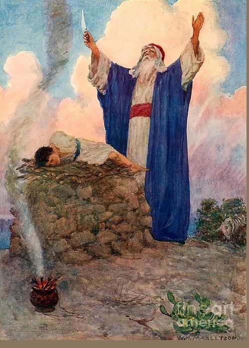 Bible; Abraham; Isaac; Mount Moriah; Sacrifice Greeting Card featuring the painting Abraham And Isaac On Mount Moriah by William Henry Margetson