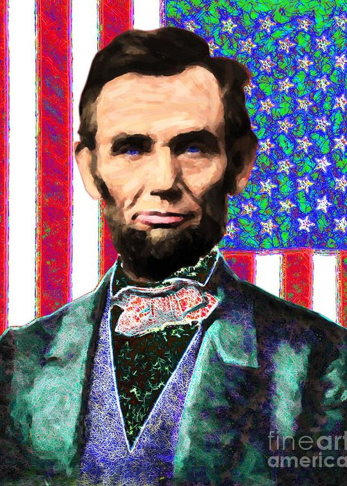 Civil War Greeting Card featuring the photograph Abraham Lincoln 20130115 by Wingsdomain Art and Photography
