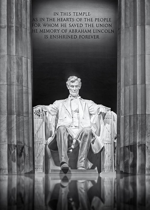 Abraham Lincoln Greeting Card featuring the photograph Abraham Lincoln Memorial by Susan Candelario