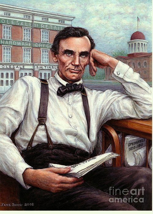 Occupy China Greeting Card featuring the painting Abraham Lincoln Of Springfield Bicentennial Portrait by Jane Bucci