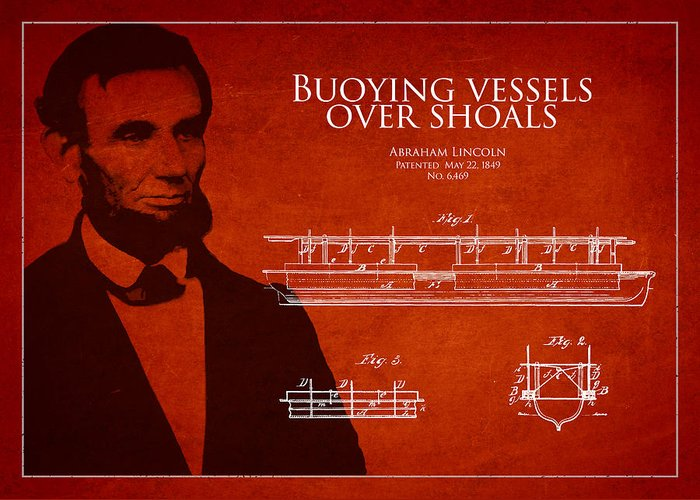 Abraham Lincoln Greeting Card featuring the drawing Abraham Lincoln Patent From 1849 by Aged Pixel