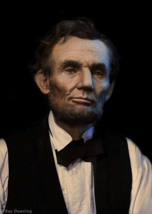 Abraham Lincoln Greeting Card featuring the digital art Abraham Lincoln Portrait by Ray Downing