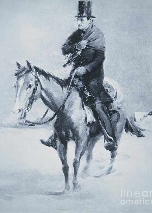Mounted Greeting Card featuring the painting Abraham Lincoln Riding His Judicial Circuit by Louis Bonhajo