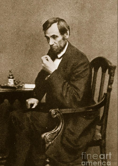 Male Greeting Card featuring the photograph Abraham Lincoln Sitting At Desk by Mathew Brady