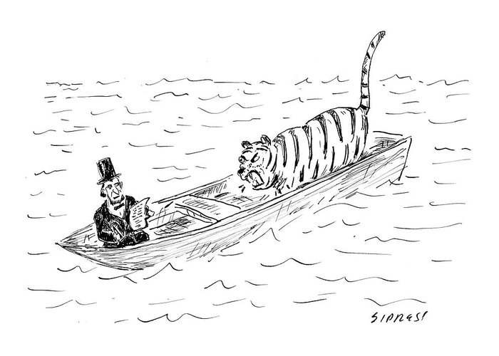 Cartoon Greeting Card featuring the drawing Abraham Lincoln With Tiger In Boat by David Sipress