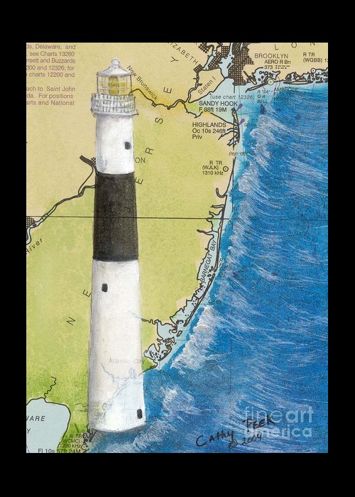 Absecon Greeting Card featuring the painting Absecon Lighthouse Nj Nautical Chart Map Art Cathy Peek by Cathy Peek