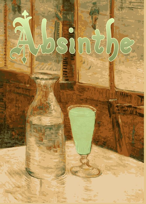 Absinthe Greeting Card featuring the painting Absinthe Art Nouveau Advertisement by