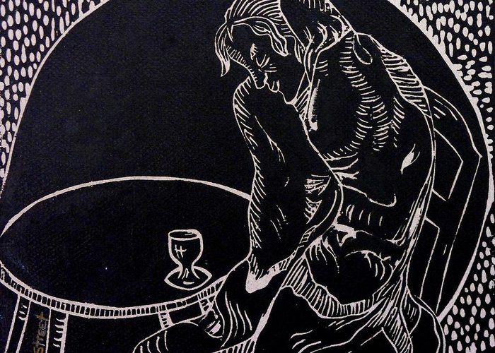 Figurative Greeting Card featuring the relief Absinthe Drinker After Picasso by Caroline Street