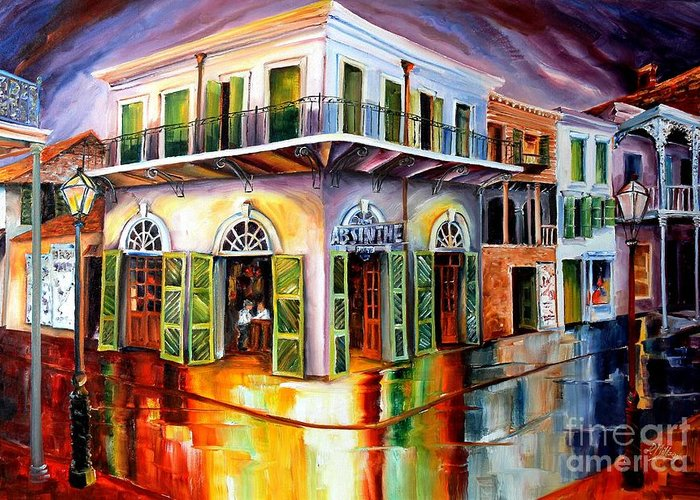 New Orleans Greeting Card featuring the painting Absinthe House New Orleans by Diane Millsap