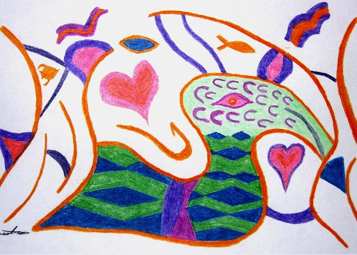 Abstract Greeting Card featuring the drawing Abstract 1 by Will Boutin Photos