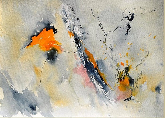 Abstract Greeting Card featuring the painting Abstract 416032 by Pol Ledent