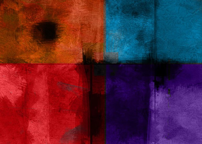 Abstract Greeting Card featuring the digital art abstract - art- Color Block Square by Ann Powell