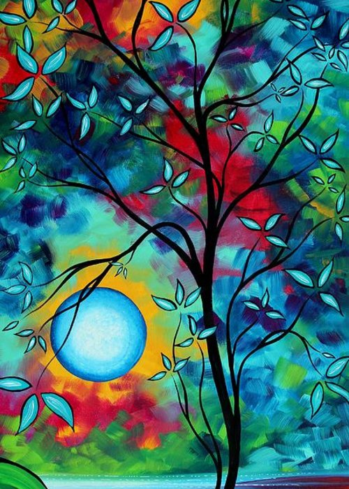 Art Greeting Card featuring the painting Abstract Art Landscape Tree Blossoms Sea Painting Under The Light Of The Moon I By Madart by Megan Duncanson