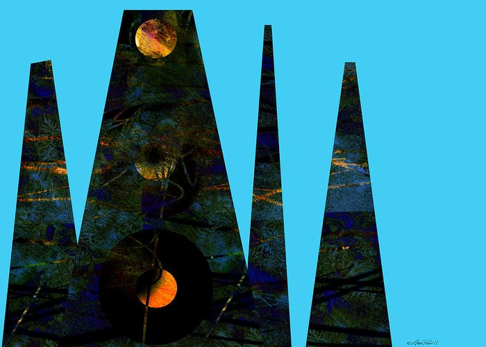 Abstract Greeting Card featuring the digital art abstract - art- Mystical Moons by Ann Powell
