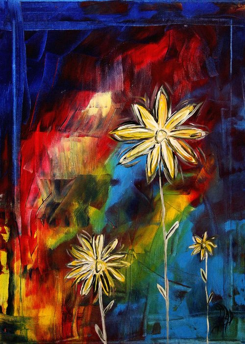 Abstract Greeting Card featuring the painting Abstract Art Original Daisy Flower Painting Visual Feast By Madart by Megan Duncanson