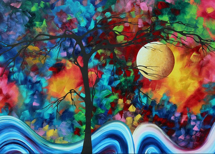 Abstract Greeting Card featuring the painting Abstract Art Original Enormous Bold Painting Essence Of The Earth I By Madart by Megan Duncanson