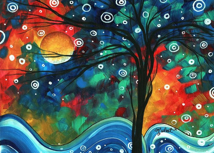 Abstract Greeting Card featuring the painting Abstract Art Original Landscape Colorful Painting First Snow Fall By Madart by Megan Duncanson