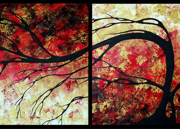 Art Greeting Card featuring the painting Abstract Art Original Landscape Painting Bring Me Home By Madart by Megan Duncanson