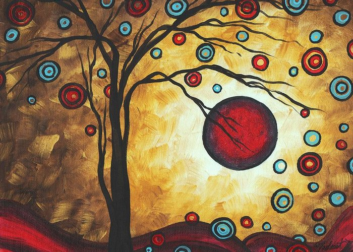 Abstract Greeting Card featuring the painting Abstract Art Original Metallic Gold Landscape Painting Freedom Of Joy By Madart by Megan Duncanson