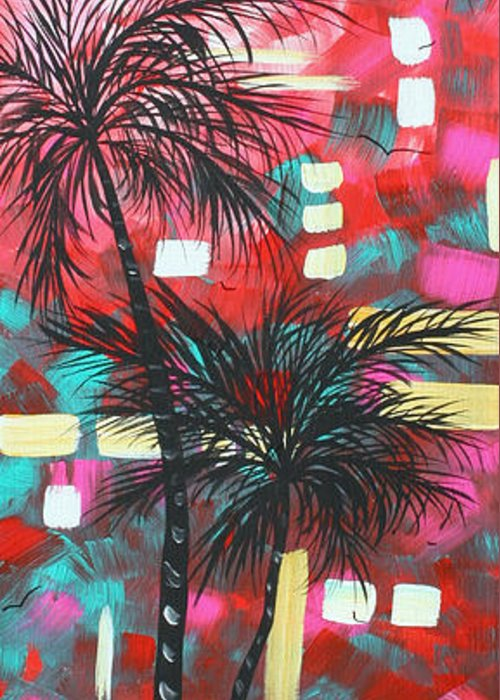 Abstract Greeting Card featuring the painting Abstract Art Original Tropical Landscape Painting Fun In The Tropics By Madart by Megan Duncanson