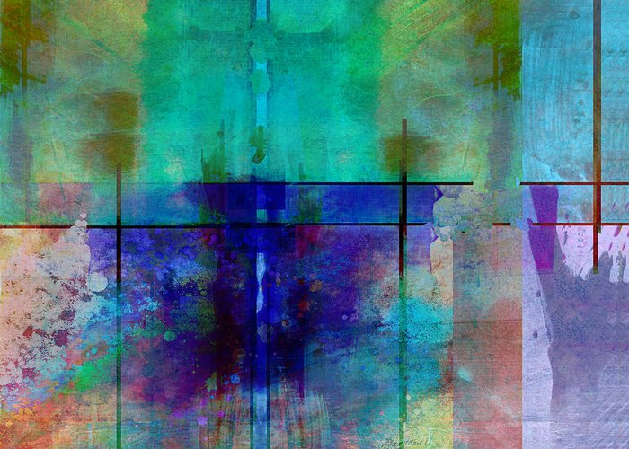 Abstract Greeting Card featuring the digital art abstract - art- Rhapsody in Blue by Ann Powell