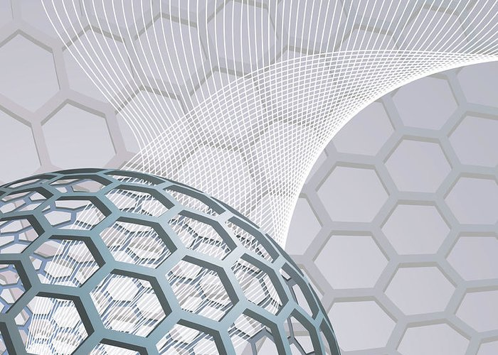 Buckminsterfullerene Greeting Card featuring the mixed media Abstract Background With Buckyball by Christos Georghiou