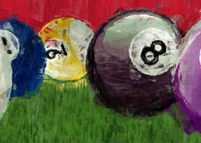 Billiards Greeting Card featuring the digital art Abstract Billiards by David G Paul