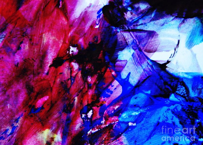 Blue Greeting Card featuring the photograph Abstract Blue And Pink Festival by Andrea Anderegg