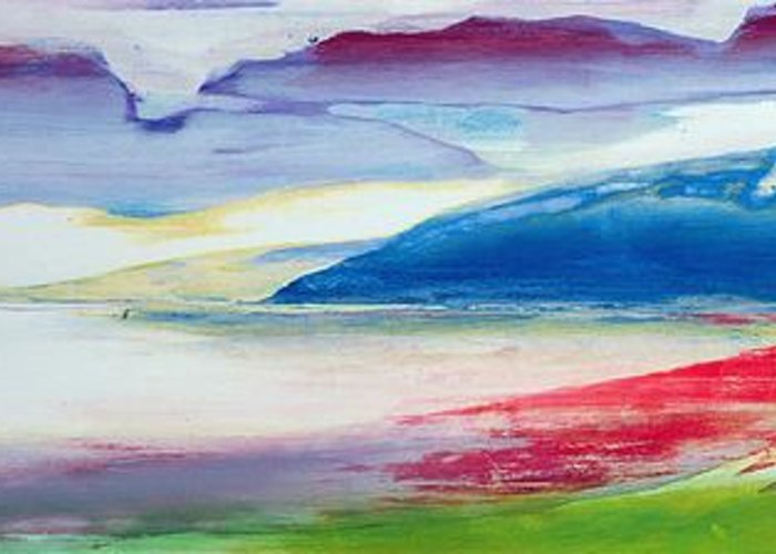 Landscape Greeting Card featuring the painting Abstract Composition by Lou Gibbs
