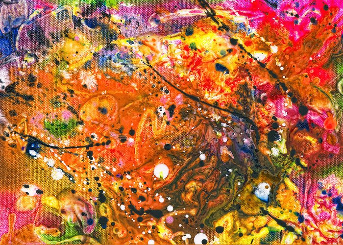 Abstract Greeting Card featuring the mixed media Abstract - Crayon - The Excitement by Mike Savad