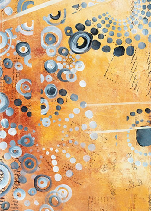 Art Greeting Card featuring the painting Abstract Decorative Art Original Circles Trendy Painting By Madart Studios by Megan Duncanson