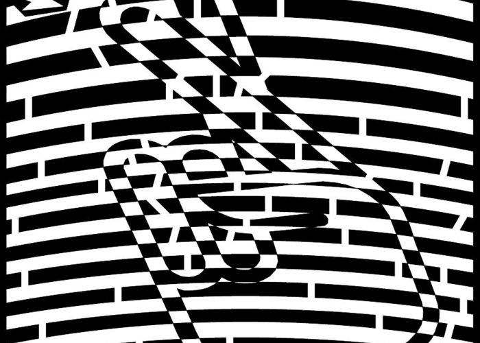 Abstract Greeting Card featuring the drawing Abstract Distortion Keep Your Fingers Crossed Maze by Yonatan Frimer Maze Artist