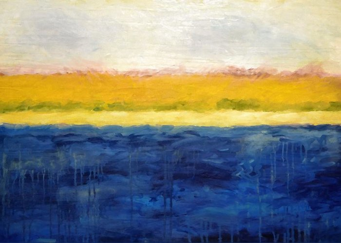Abstract Landscape Greeting Card featuring the painting Abstract Dunes With Blue And Gold by Michelle Calkins