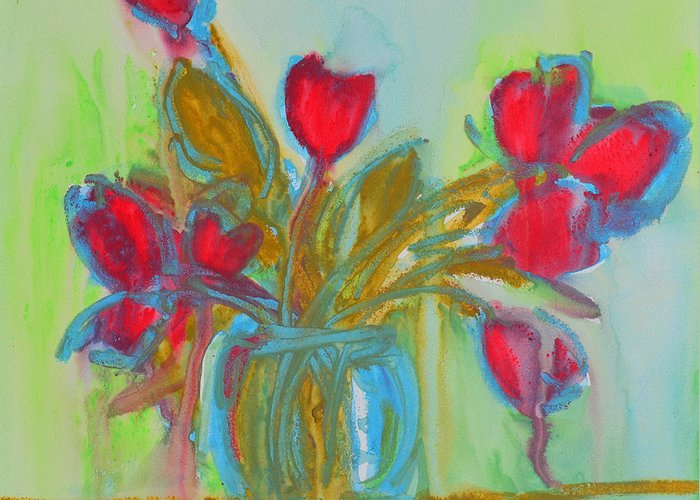 Art Greeting Card featuring the painting Abstract Flowers by Patricia Awapara
