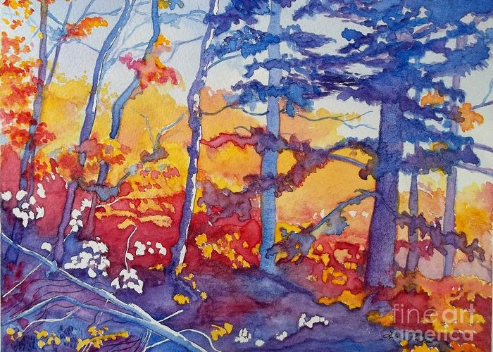 Abstract Forest Greeting Card featuring the painting Abstract Forest No. 1 by Lise PICHE