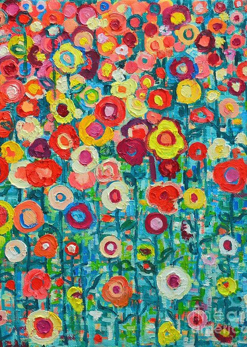 Abstract Greeting Card featuring the painting Abstract Garden Of Happiness by Ana Maria Edulescu