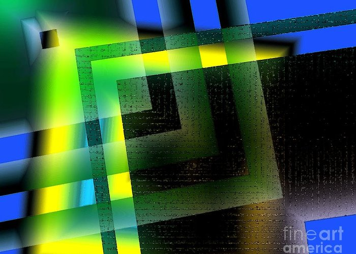 Green Greeting Card featuring the digital art Abstract Geometry With Effects And Transparency by Mario Perez