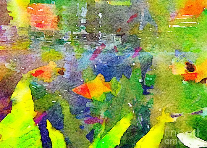 Abstract Greeting Card featuring the painting Abstract Goldfish Fish Bowl Aquarium Watercolor 2 by Beverly Claire Kaiya