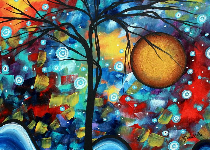 Abstract Greeting Card featuring the painting Abstract Landscap Art Original Circle Of Life Painting Sweet Serenity By Madart by Megan Duncanson