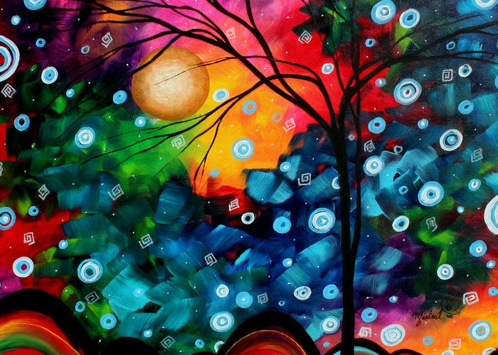 Abstract Greeting Card featuring the painting Abstract Landscape Colorful Contemporary Painting By Megan Duncanson Brilliance In The Sky by Megan Duncanson