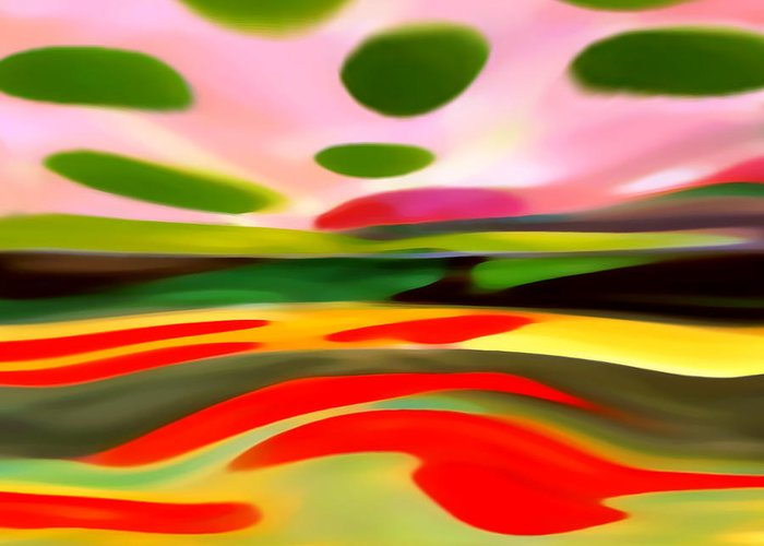 Abstract Greeting Card featuring the painting Abstract Landscape Of Happiness by Amy Vangsgard