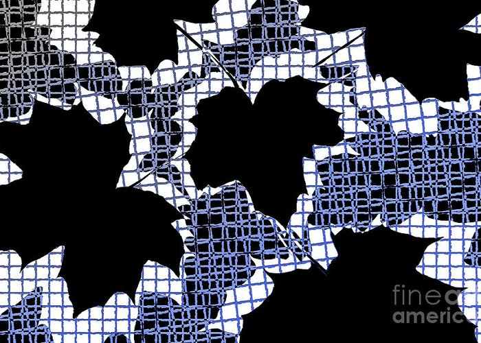 Abstract Greeting Card featuring the photograph Abstract Leaf Pattern - Black White Blue by Natalie Kinnear